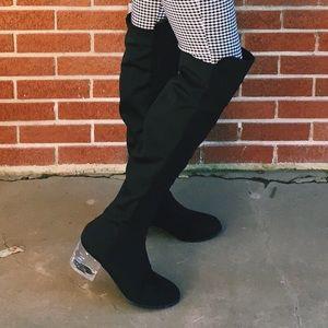✨Clear Block Heel OTK Boots✨